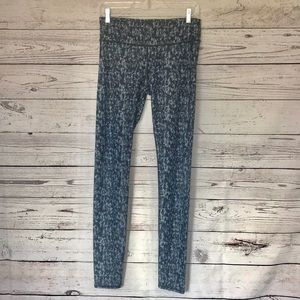 Fabletics Black Blue Patterned Leggings Medium